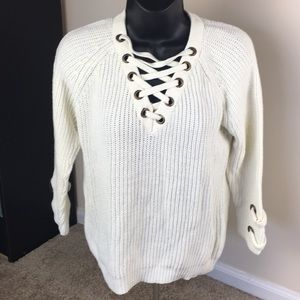 Lace Up V-Neck Sweater